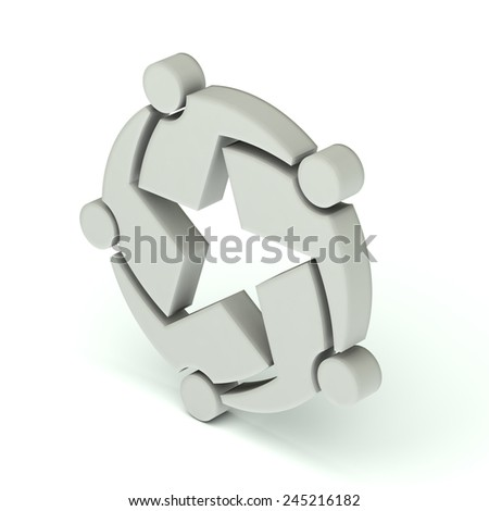 Teamwork star group of five people.3D icon - stock photo