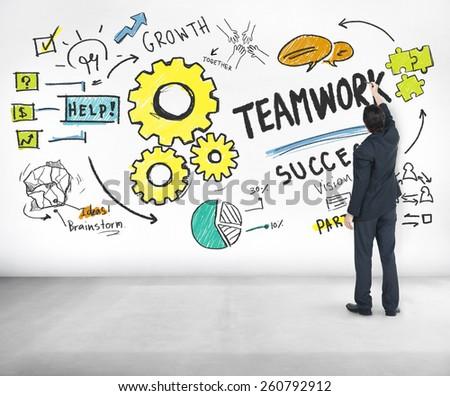 Teamwork Team Together Collaboration Businessman Writing Ideas Concept - stock photo