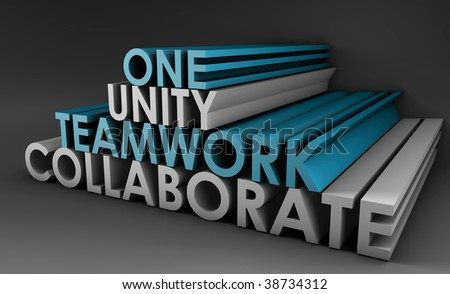Teamwork Unity and Collaboration in 3d Text