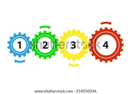 Teamwork / Value Chain - 4 Bright Cogwheels with Arrows, Infographic on a white background - stock photo