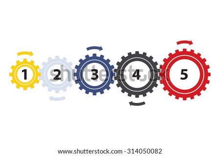 Teamwork / Value Chain - 5 Gearwheels with Arrows, Infographic on a white background - stock photo