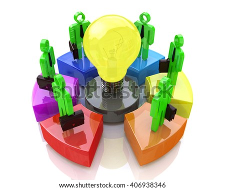 Teamwork with idea concept light bulb. Business idea.3D Illustration