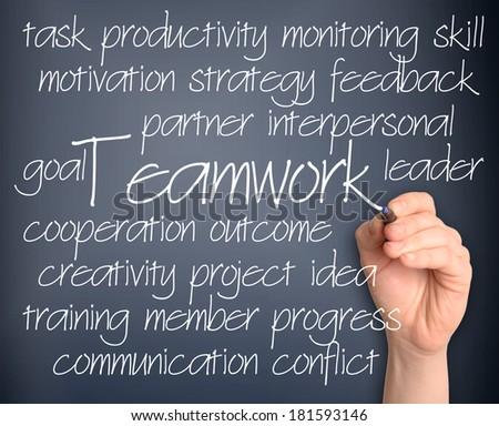 Teamwork word cloud handwritten on pale blue background - stock photo