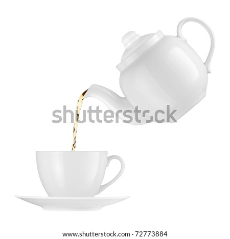 Teapot pouring tea into a cup on a white background - stock photo