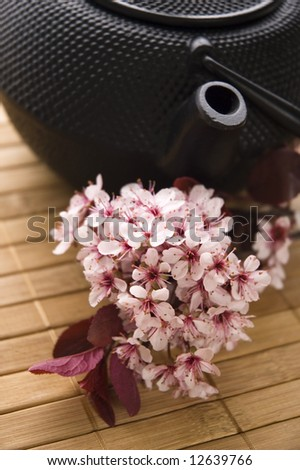 teapot with a fresh flowers on the bamboo tray