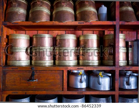 Teapots in Temple kitchen, China