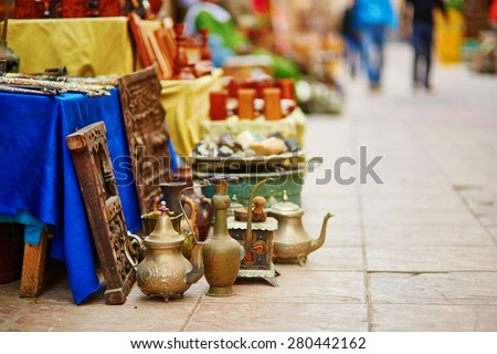 Teapots on Moroccan market (souk) in Essaouira, Morocco - stock photo