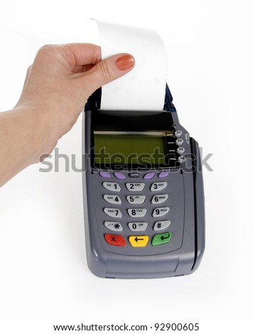 Tear receipt paper from payment machine