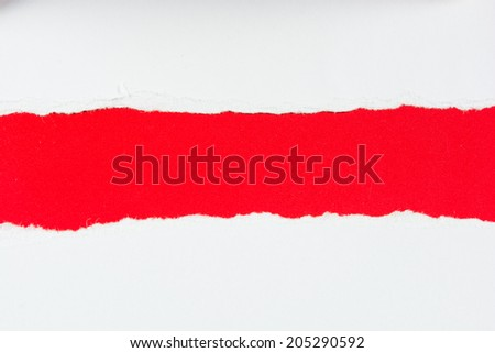 tear red paper pieces of paper on white background - stock photo
