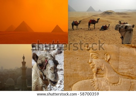 tear sheet compilation of egypt tour sights - stock photo