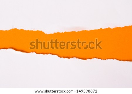 Teared, ripped paper on orange background. - stock photo