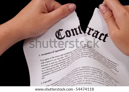 Tearing The Contract - stock photo