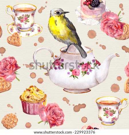 Teatime: tea pot, tea cup, cakes, rose flowers and bird. Elegant seamless tea time pattern. Watercolor - stock photo