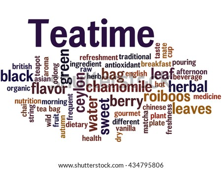 Teatime, word cloud concept on white background.