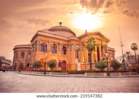 Teatro Massimo, opera house in Palermo. Sicily, Italy. Evening photo. - stock photo