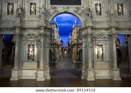 Teatro Olimpico interior in Vicenza, Italy - stock photo