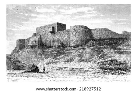 Tebnine Castle in Abel Mountain, Lebanon, vintage engraved illustration. Le Tour du Monde, Travel Journal, 1881 - stock photo