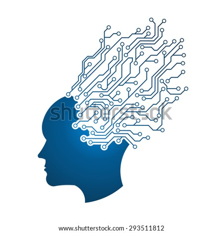 Tech Brain People logo - stock photo