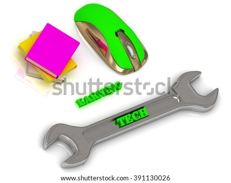 TECH bright volume letter on silver instrument, textbooks and computer mouse on white background - stock photo