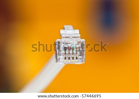 tech cable with plug isolated on a white background. photography studio - stock photo