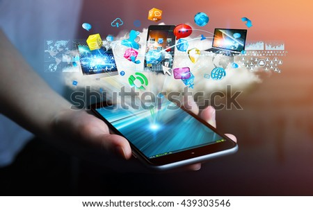 Tech devices and icons applications connected to businesswoman mobile phone '3D rendering'