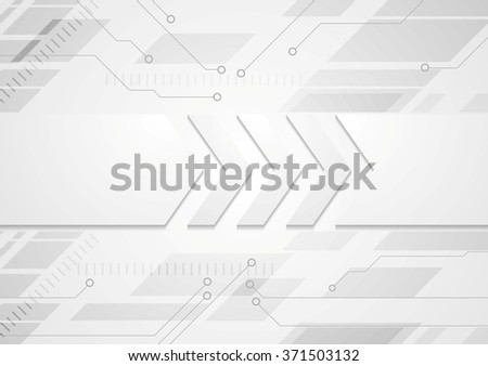 Tech grey abstract background with big arrows - stock photo