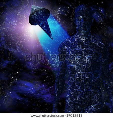 Tech-man and space craft - stock photo