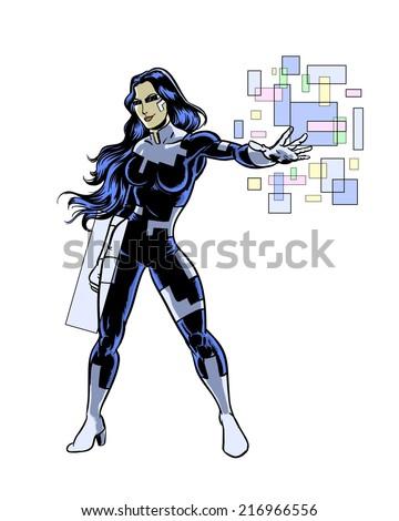 tech super hero woman comic book illustrated character - stock photo