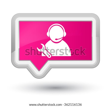 Tech support icon pink banner button