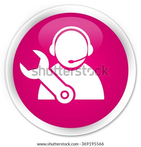 Tech support icon pink glossy round button