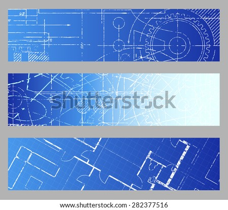 Technical blueprint engineering web banner backgrounds  - stock photo