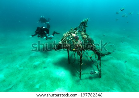 Technical divers and artificiel reef in the Red Sea - stock photo
