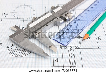 technical drawing and caliper