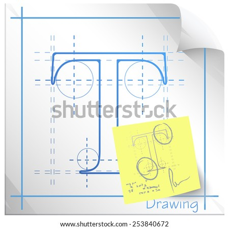 Technical Drawing Fonts with Revision Note - Illustration - stock photo
