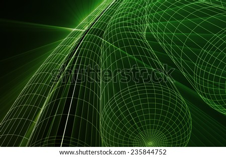 Technical Drawing or Blueprint on Black Background - stock photo