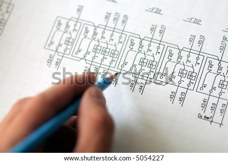 Technical drawing, very detailed with shemes for power plant - stock photo