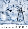 Technical drawings in a blue toning - stock photo