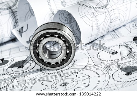 Technical drawings with the bearing - stock photo