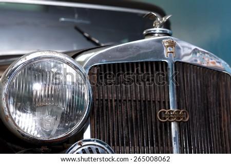 TECHNICAL MUSEUM, CHERNOGOLOVKA, RUSSIA - MARCH 15, 2015: Closeup of famous German car Horch 830 BL Pulman Limousine - stock photo