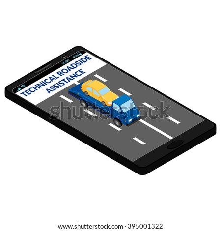 technical roadside assistance on the mobile phone screen. Tow truck, car, road - stock photo