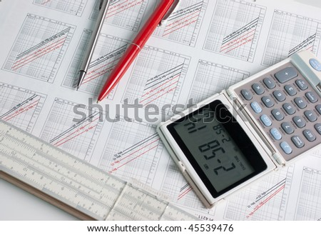 technical scheme of a slide rule - stock photo