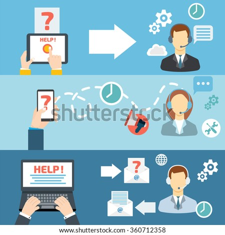 Technical support call center contact flat stock illustration technical support call center contact flat banner set publicscrutiny Choice Image