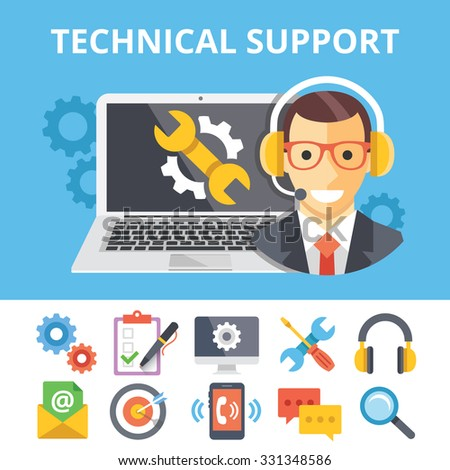 Technical support flat illustration and flat technical support icons set. Modern flat design graphic concepts for web banners, web sites, printed materials, infographics. Creative flat illustrations - stock photo