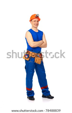 Technician in work wear after job against white background - stock photo