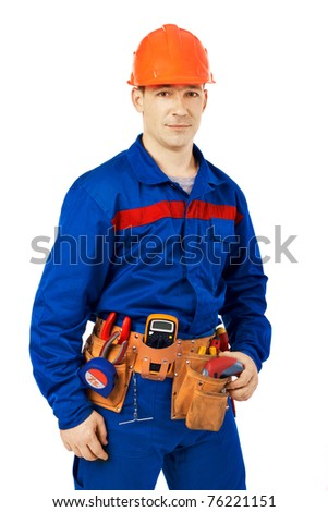 Technician man working class with equipment against white background - stock photo