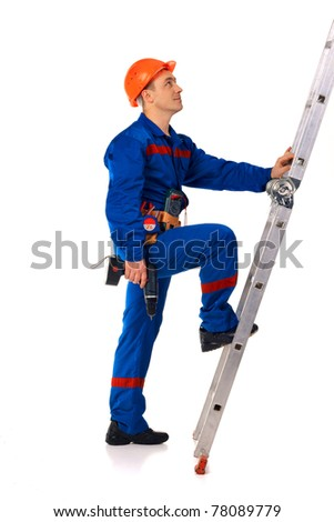 Technician man working class with equipment against white background