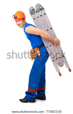 Technician with step-ladder after job against white background - stock photo