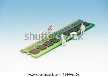Technicians inspecting RAM memory module. Macro photo. - stock photo