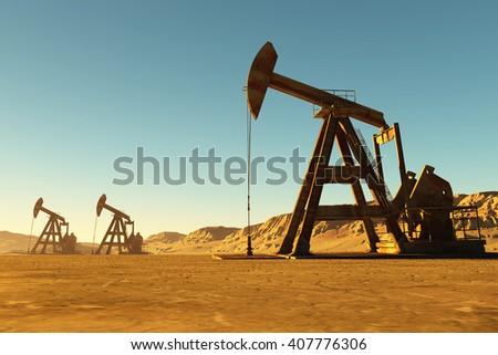 Technique for oilin the desert..,3d render - stock photo