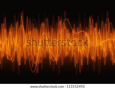 Techno amber waves sound display. - stock photo